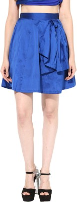 Miss Chase Solid Women's Gathered Blue Skirt