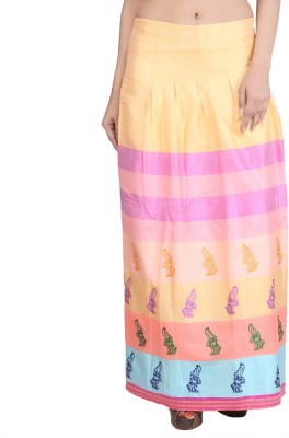 Indian Artizans Floral Print Women's Pleated Multicolor Skirt