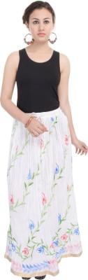 Nisba Fashions Printed Women's A-line White Skirt