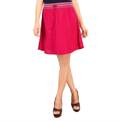 SFDS Solid Women's Gathered Blue Skirt