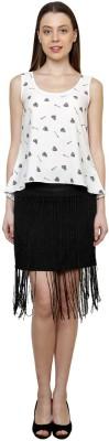 Gossip Girls Solid Women's Regular Black Skirt