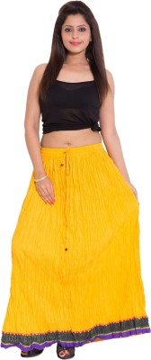 Wardtrobe Solid Women's Regular Yellow Skirt