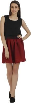 Holidae Solid Women's Regular Maroon Skirt