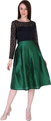 Sugar Her Solid Women's Pleated Green Skirt