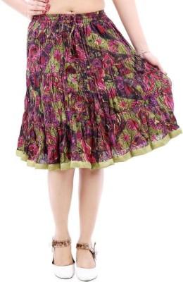 Vivancreation Embroidered Women's Regular Green Skirt
