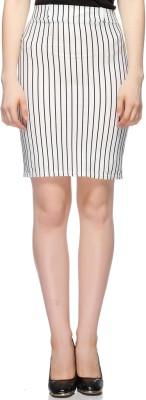 Fasnoya Striped Women's Pencil White Skirt