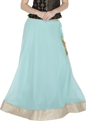Sanchi Global Solid, Embellished Women's Regular Light Blue, Gold Skirt