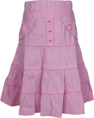 Jazzup Solid Girl's Gathered Pink Skirt