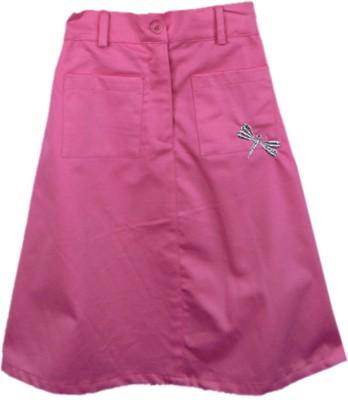 SSMITN Solid Girl's Straight Pink Skirt
