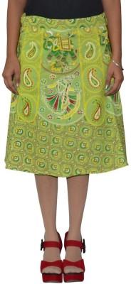 Shreeka Printed Women's Wrap Around Green, Yellow Skirt