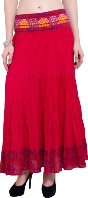 Tuntuk Solid Women's A-line Red Skirt