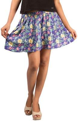 Goodwill Impex Floral Print Women's Gathered Multicolor, Black Skirt