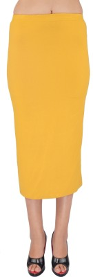 SHYIE Solid Women,s Pencil Yellow Skirt