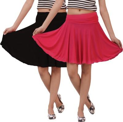 carrol Solid Women's A-line Black, Pink Skirt