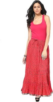 Factorywala Printed Women,s Wrap Around Red Skirt