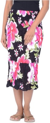 Legginstore Floral Print Women's Tiered Pink Skirt