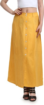Eves Pret A Porter Solid Women's A-line Yellow Skirt
