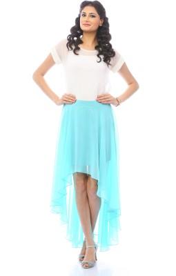 Pinwheel Solid Women's Asymetric Light Green Skirt
