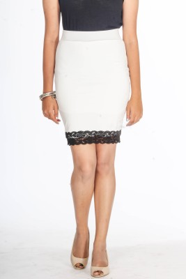 Young Trendz Embellished Women's Pencil White Skirt
