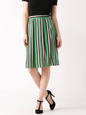 Dressberry Striped Women's A-line Green Skirt at flipkart