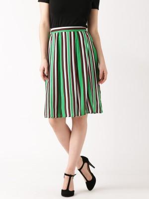 Dressberry Striped Women's A-line Green Skirt at flipkart