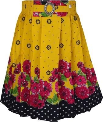 Jazzup Printed Girl's Gathered Yellow Skirt