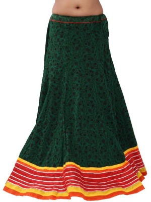Chhipaprints Printed Women's Straight Green Skirt