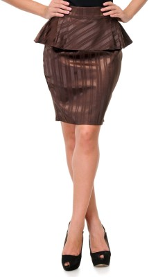 Milimoto Striped Women's Layered Brown Skirt