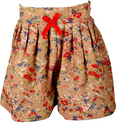 Toddla Floral Print Girl's Pleated Beige Skirt