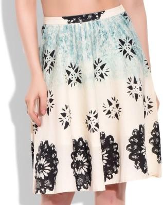 Eves Pret A Porter Floral Print Girl's A-line Beige Skirt