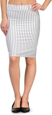 Fasnoya Striped Women's Tube White Skirt