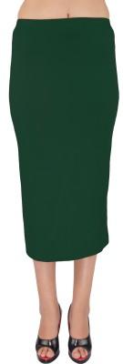 SHYIE Solid Women,s Pencil Dark Green Skirt