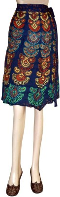 Shilimukh Floral Print Women's Wrap Around Blue Skirt