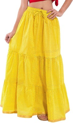 Decot Paradise Polka Print Women's Regular Yellow Skirt