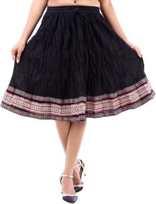 Desert Eshop Solid Women's A-line Black Skirt
