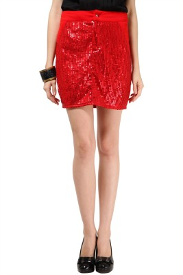 The Vanca Printed Women's A-line Red Skirt