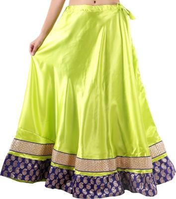 BigCart Printed Women's Straight Green Skirt