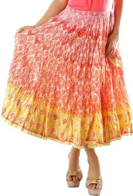 Chidiyadesigns Printed Women's Gathered Yellow, Orange Skirt
