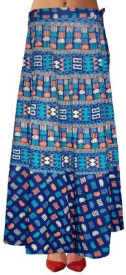Marwari Fashion Printed Women's Wrap Around Blue Skirt at flipkart