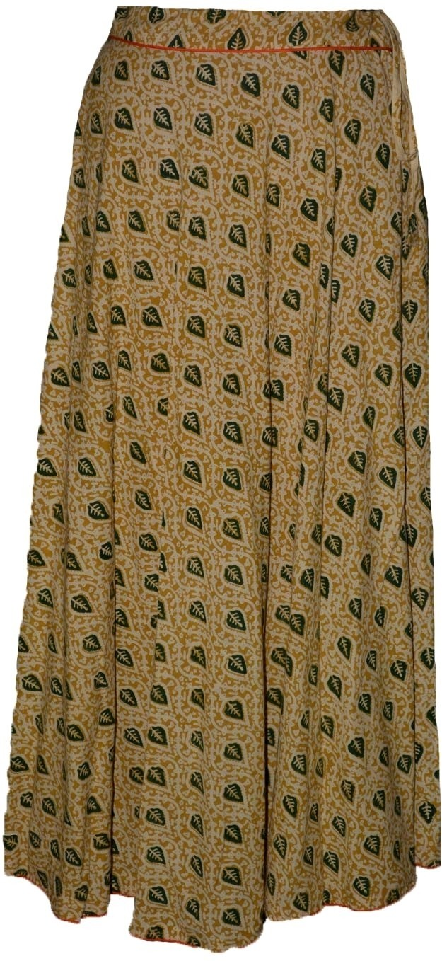 Alicolours Printed Womens Broomstick Beige, Green Skirt