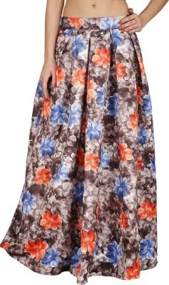 Svt Ada Collections Floral Print Women's Regular Brown Skirt