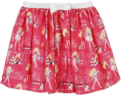 Barbie Graphic Print Girl's A-line Pink Skirt