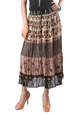 Indiankala4u Printed, Self Design Women,s Broomstick Multicolor Skirt