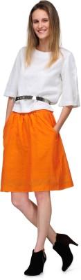 Yolo Designs Solid Women's Regular Orange Skirt