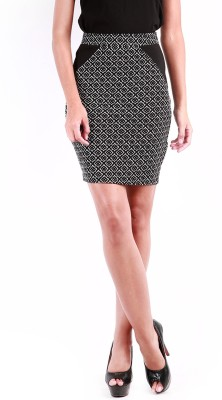 Change360? Printed Women's Pencil Black Skirt