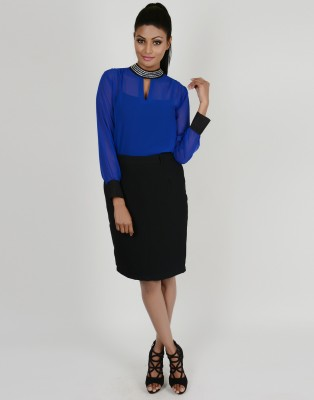 Martini Solid Women's Pencil Black Skirt