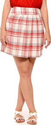 Sugar Her Checkered Women's Regular Red Skirt