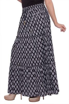 A&K Printed Women's Regular Black Skirt