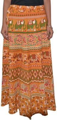 Shreeka Printed Women's Wrap Around Yellow, Green Skirt