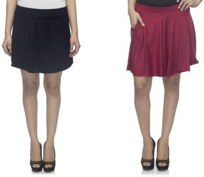 Dee Fashion House Solid Women's Pleated Black, Maroon Skirt
